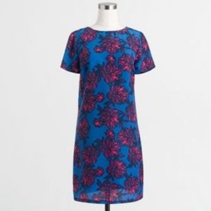 J. Crew Gallery Shift Dress Floral Pink Blue